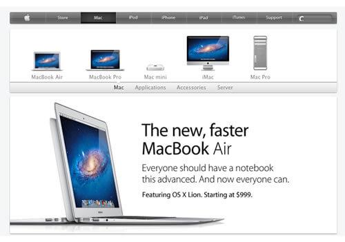 Apple Website Design 2011