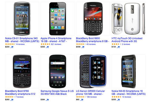Mobile devices on Google Shopping