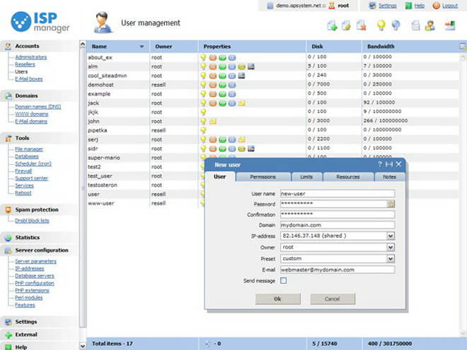 ispmanager control panel