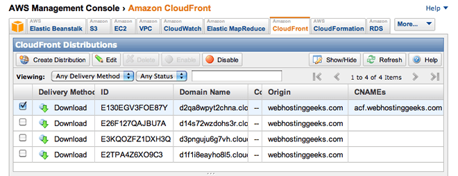 amazon cloudfront console