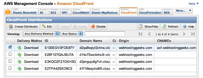 amazon cloudfront console