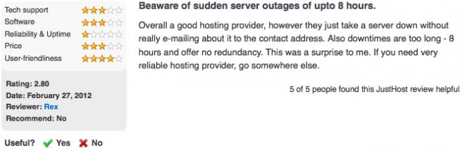 justhost server complaint