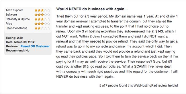 WebHostingPad Complaint: Auto-Renew