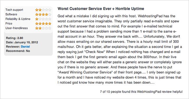 WebHostingPad Complaint: Customer Service + Uptime