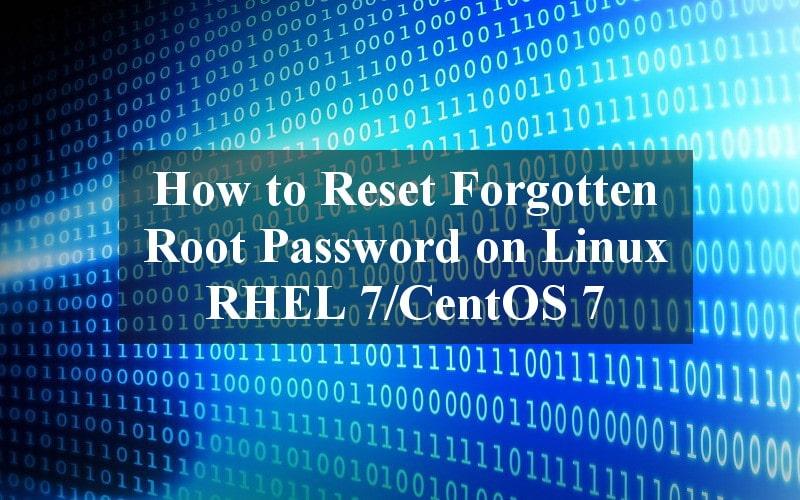 Reset Forgotten Root Password