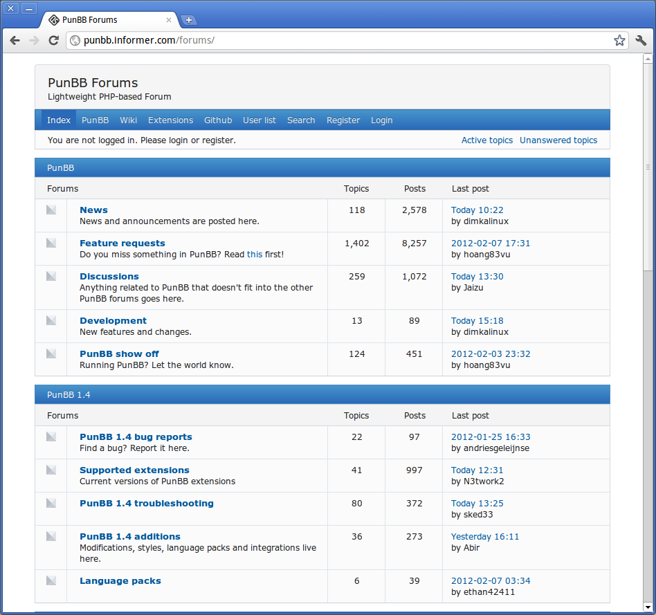 PunBB forum screenshot