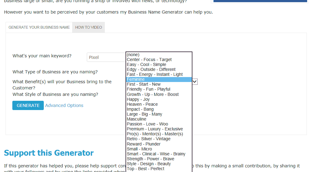 Name Generator: Business Name Generator