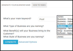 Select your business type.
